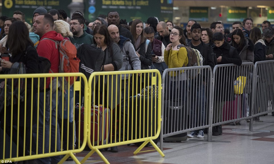 Barriers were put in place to help control the queues of passengers waiting to board a delayed service at Victoria station