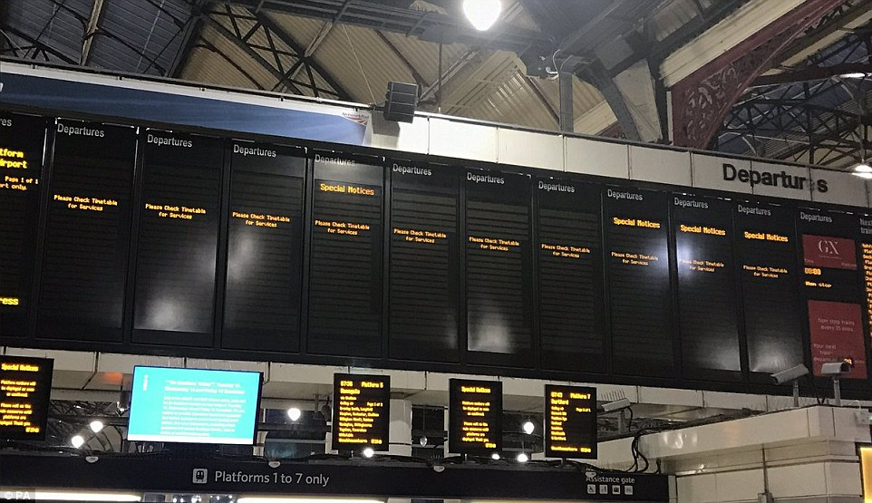 Departure boards in Victoria station, London were left blank as all Southern Rail services were halted amid strike action
