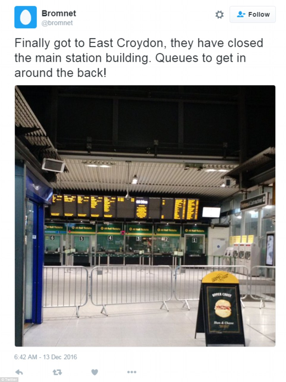 The main station building at East Croydon, south London was closed in anticipation of the travel chaos this morning, forcing commuters to queue around the back