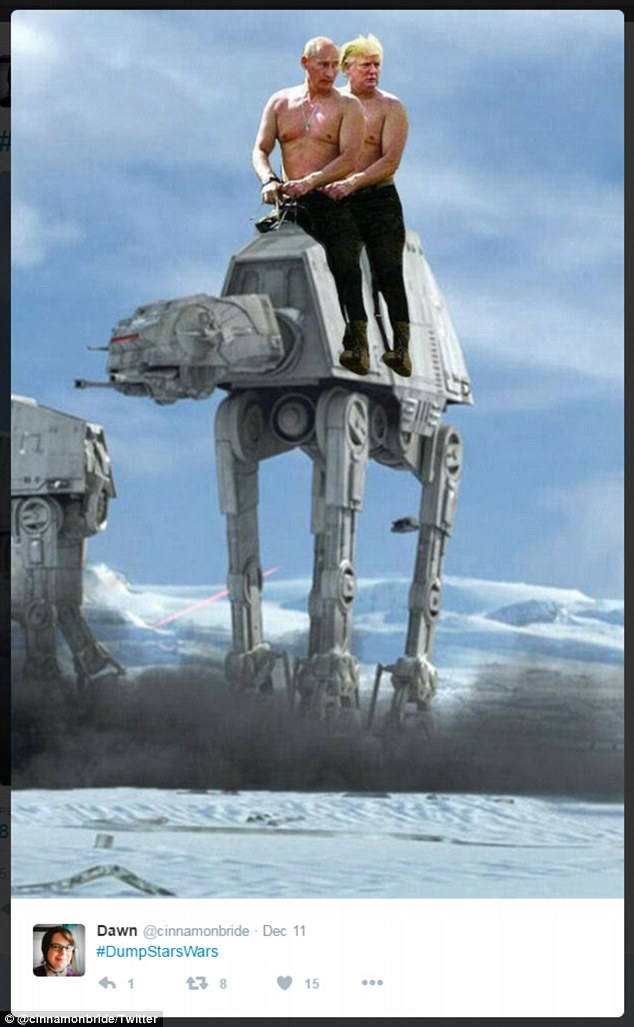 Another Twitter user showed Trump and Putin riding atop an AT-AT Walker (above)