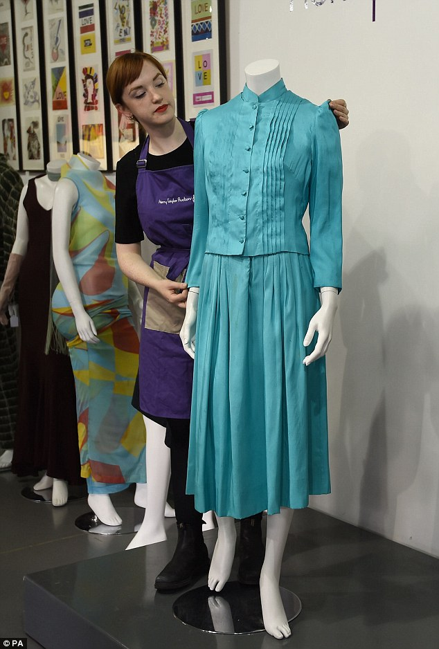 This turquoise silk dress, worn by Diana, Princess of Wales during a royal tour of New Zealand in 1983, was also sold by Kerry Taylor Auctions in London yesterday