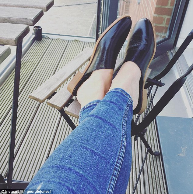 Georgie Jones joked that her boyfriend 'wretched' when he saw her pointed leather mules and accused her of dressing like his granddad