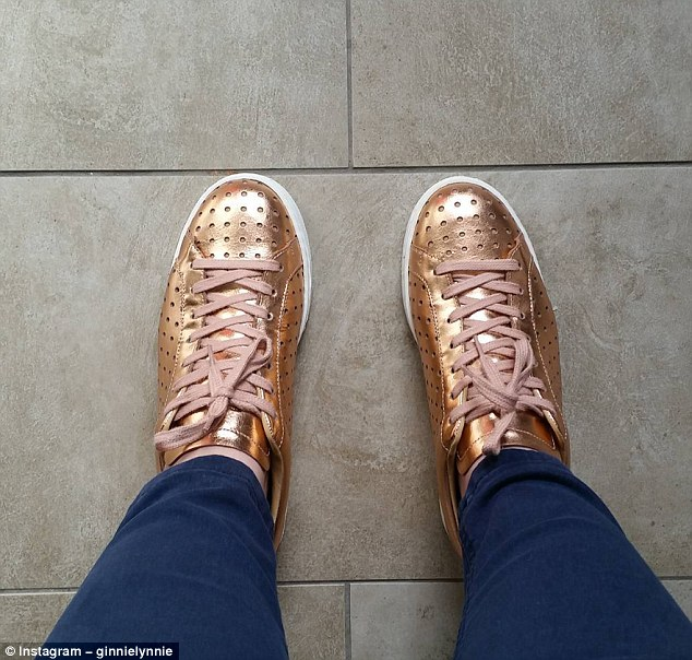 One woman proudly showed off a pair of rose gold trainers her husband had an aversion to, writing: '#heknowsnothing'