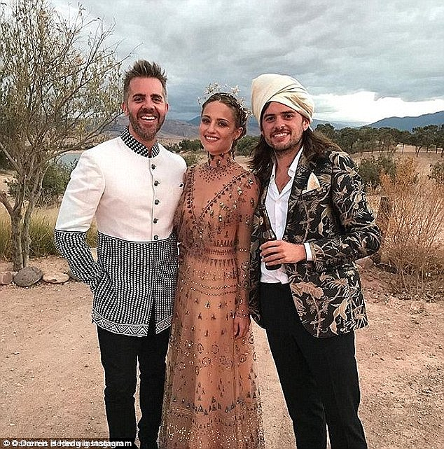 Man and wife: Dianna Agron, 30, and Winston Marshall, 27, got married Saturday in Morocco, they are seen with friend Jordan Brown, left