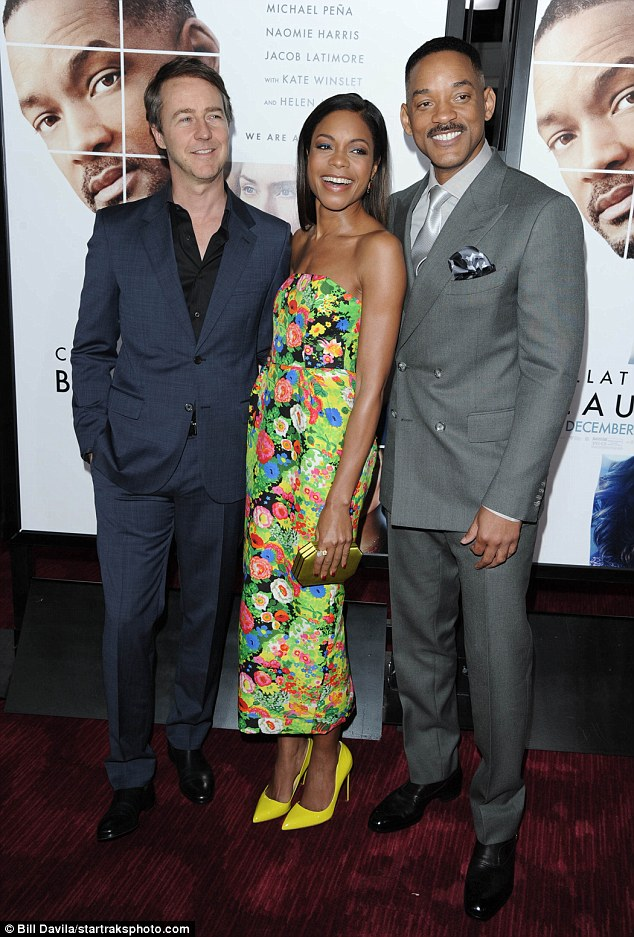 Handsome: Will looked dashing in a sharp grey suit and silver tie, while Edward Norton looked sharp in a navy suit and black shirt