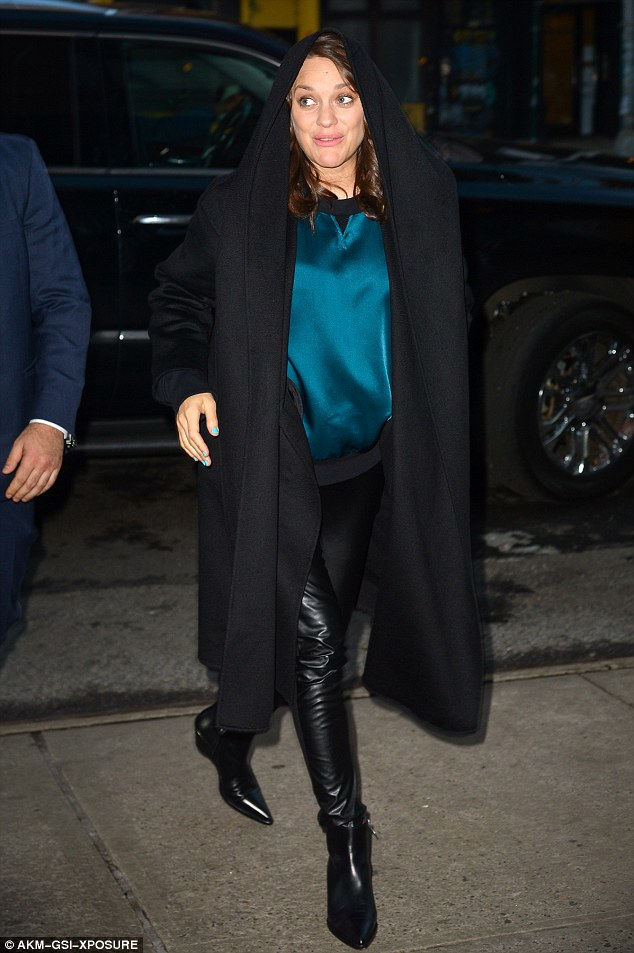 On the promo trail: Marion Cotillard, 41, was in New York on Monday to promote video game adaptation Assassin's Creed with co-stars Jeremy Irons and Michael Fassbender