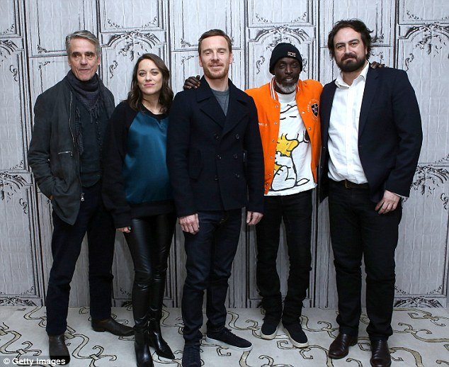 Star-studded: Inside the venue, Marion was also joined by Jeremy Irons, Fassbender, Michael K Williams and director Justin Kurzel