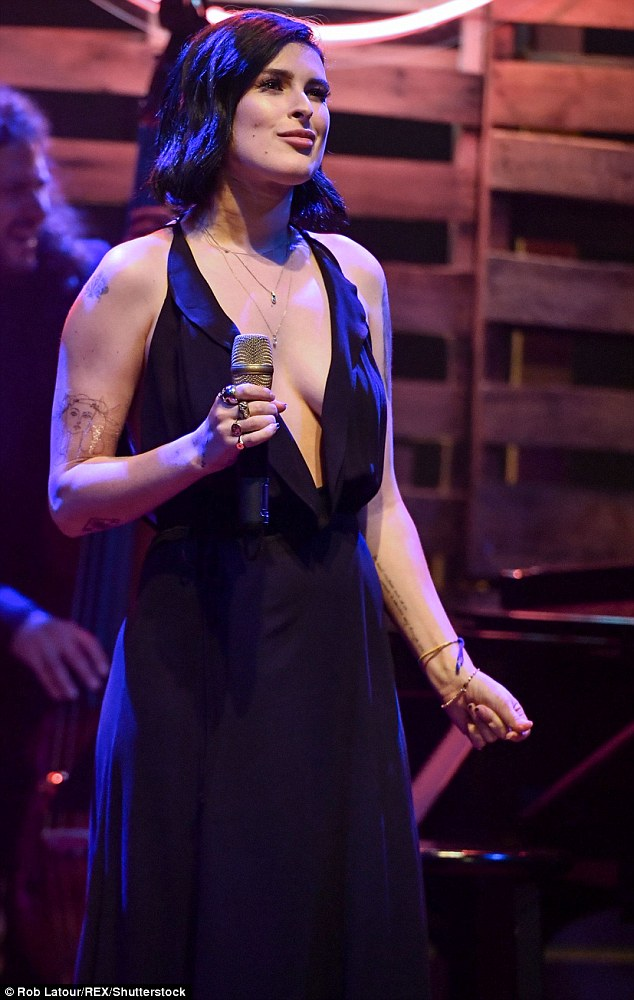 Just gorgeous:The singer wore her chopped brunette locks down for the occasion, as well as ample amounts of mascara