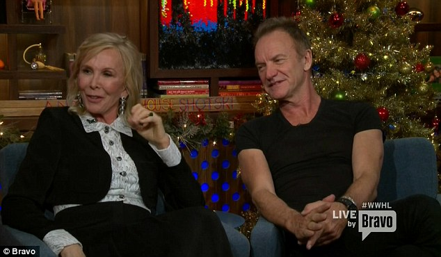Played along: Sting listened as Trudie declared Mick Jagger, LL Cool J, Ricky Martin, Seal and especially Antonio Banderas as hotter