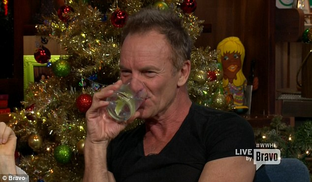 Drinking up: Sting kept refreshed during his appearance on the chat show