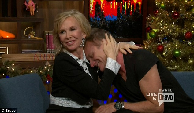 Cute couple: Trudie cuddled with Sting at one point