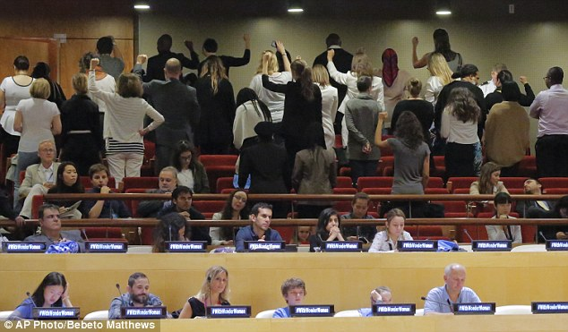 Protest: Angry UN staff turned their backs as the character was declared the UN Honorary Ambassador for the Empowerment of Girls and Women. Some objected she was too white