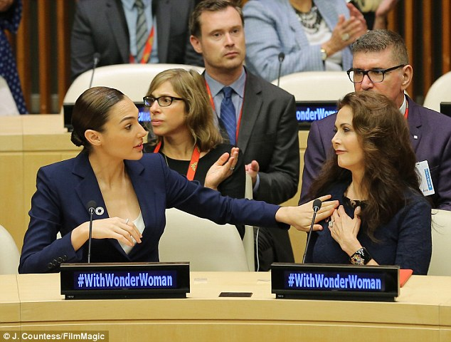 Wonderful: Gadot and Carter (both pictured foreground) were at the UN's announcement ceremony in October