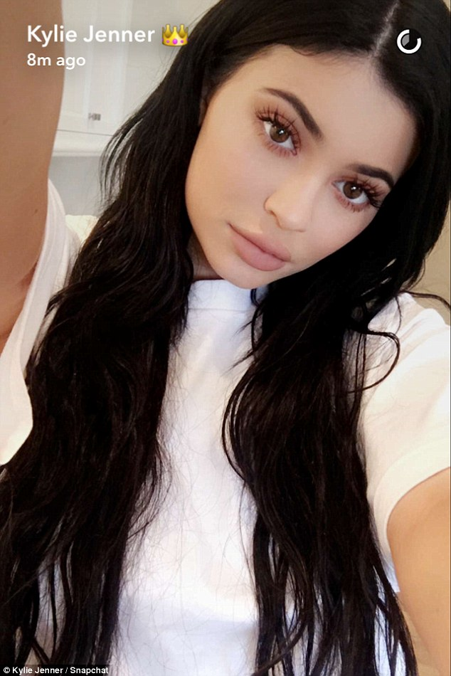 Social media queen: Also on Monday, Kylie kept up her busy Snapchat schedule