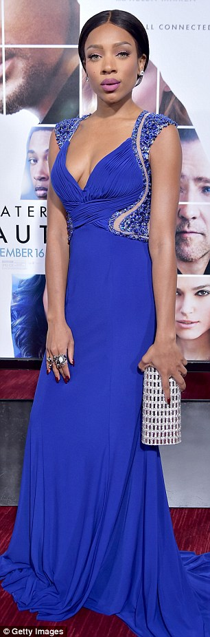 Dropping jaws:Shanina Shaik wowed in all red, while Lil Mama was the picture of glamour in her floor-length blue gown