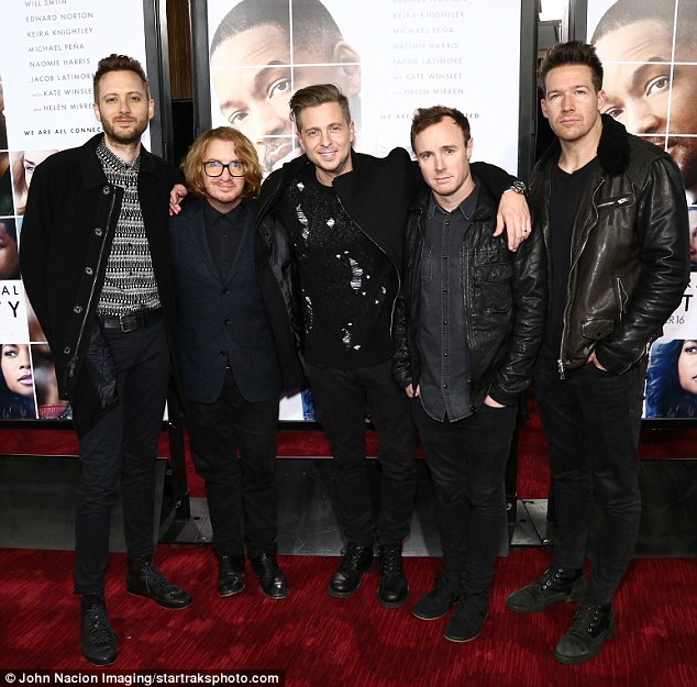 Rock on! OneRepublic band members Brent Kutzle, Drew Brown, Ryan Tedder, Eddie Fisher, and Zach Filkins squeezed in time for a night at the movies