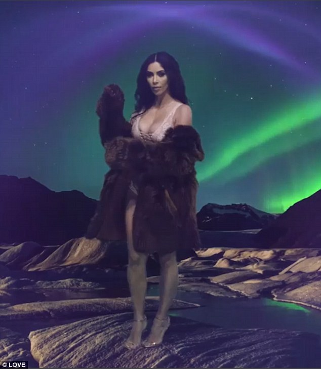 A new horizon: Kim Kardashian has ensured she's not far away from her fans' thoughts this festive season as she has taken part in the latest offering in the LOVE advent calendar