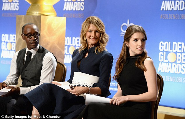 Bringing the glamour: Alongside Anna, actors Don Cheadle and Laura Dern were bringing the star power