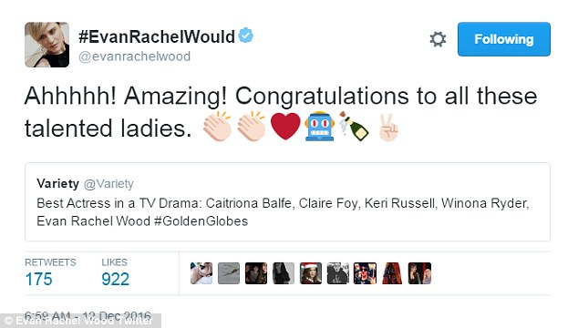 She named other too: Evan Rachel Wood acknowledged vets Keri Russell and Winona Ryder