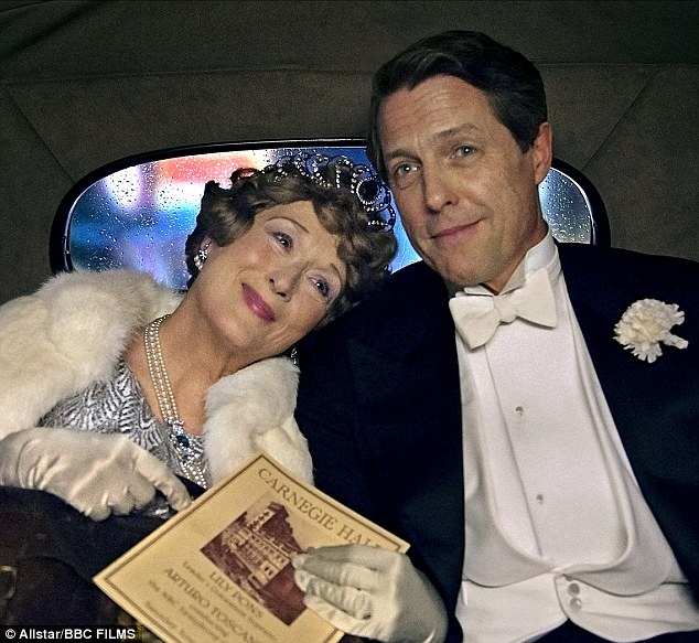 Impressive: Meryl Streep has broken another Hollywood record. On Monday morning the 67-year-old iconic actress was given her 30th Golden Globe nomination. Pictured with co-star Hugh Grant