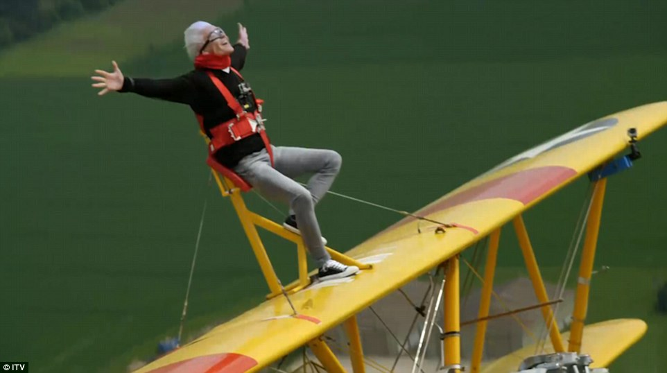 Feeling brave, the presenter decided to celebrate 60 years of the Duke of Edinburgh's award by doing a wing walk