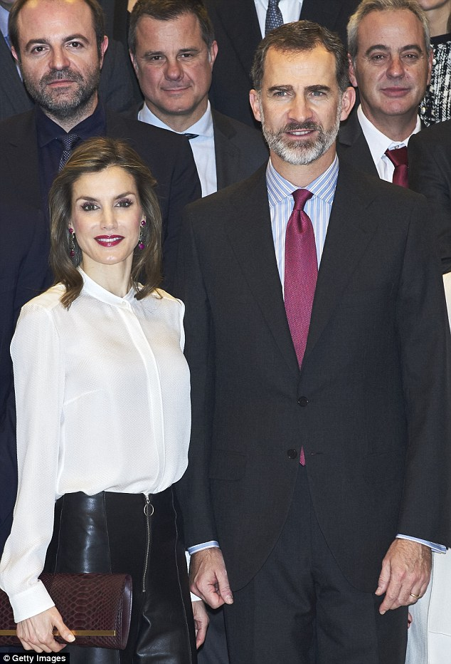 Queen Letizia of Spain opted for a new look hairdo as she accompanied her husband King Felipe VI to an engagement in Madrid today