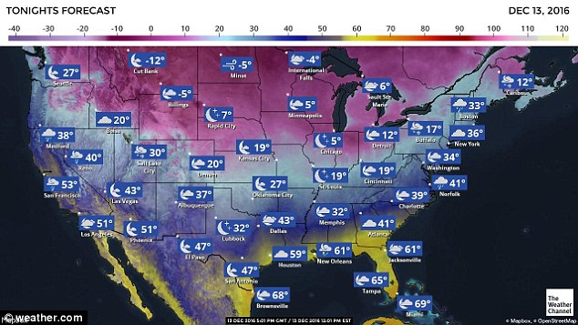 The weather was slated to get colder at night time in Washington State, dropping to 27 degrees in Seattle. Kennewick was expecting temperatures to go as low as 14 degrees