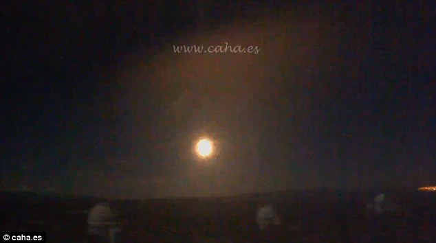 The fireball smashed down in southern Spain at about 10.25pm on Sunday and the huge streak of light in the sky was witnessed by tourists and residents in the Costa Del Sol