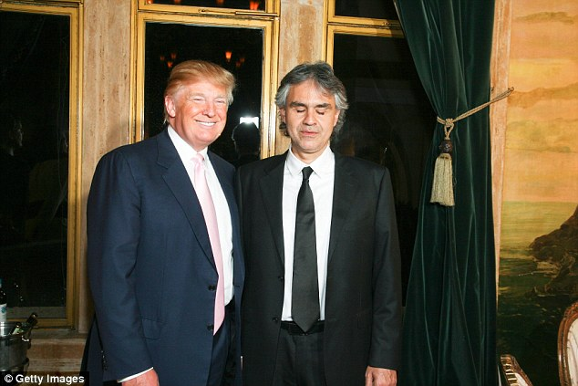 Donald Trump is set to personally speak to Italian tenor Andrea Bocelli about performing at his inauguration next month; the pair are pictured together in 2010