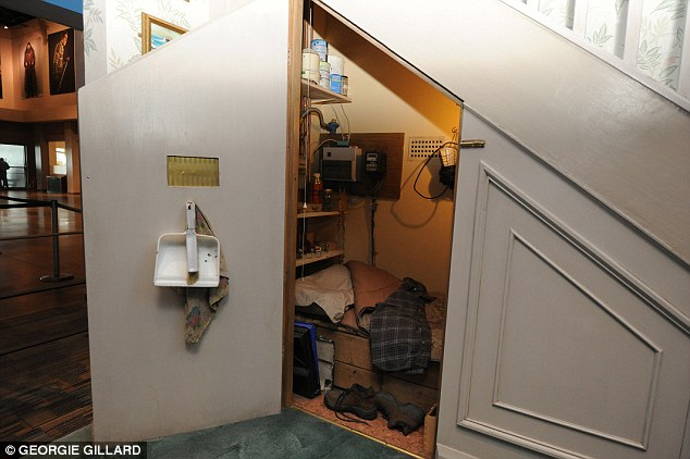 The cupboard under the stairs, part of the set design for 4 Privet Drive, is pictured above