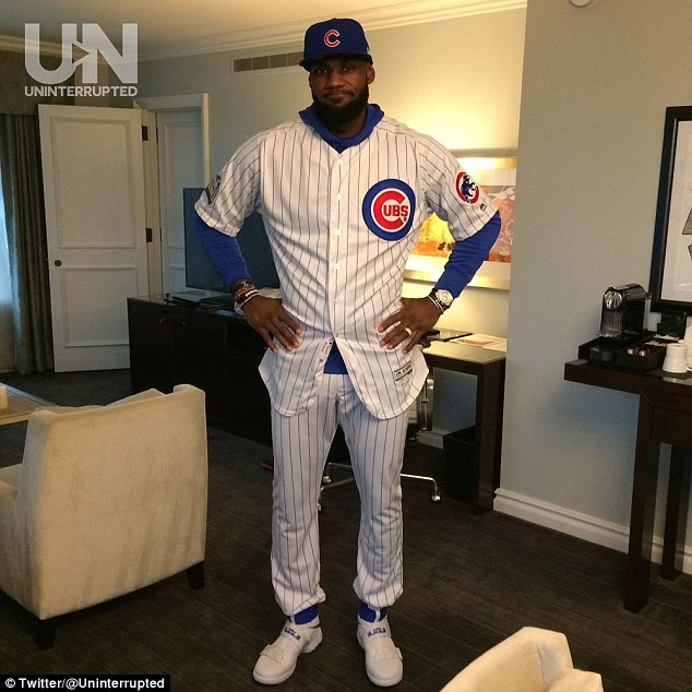 James went on to talk about his bet with his good friend and former teammate, Dwyane Wade, who currently plays for the Chicago Bulls. James (pictured) lost the bet when the Cubs beat the Cleveland Indians in the World Series. He then had to wear a Cubs uniform to a game