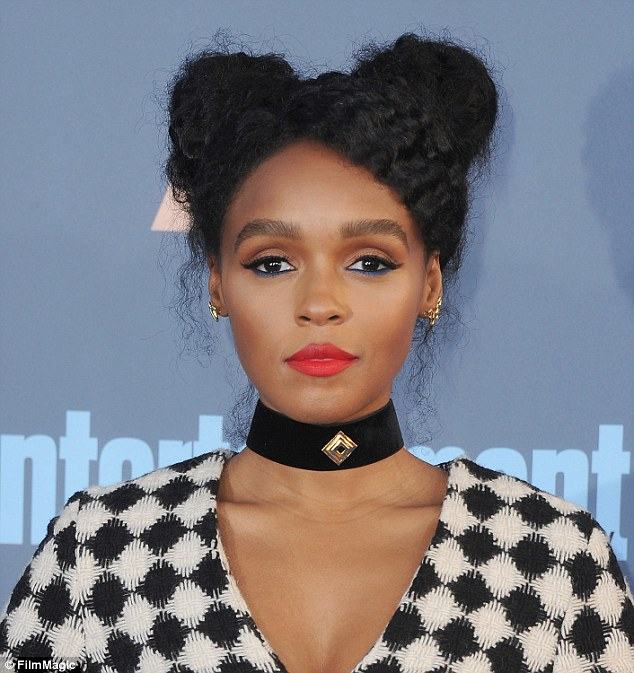 Feeling blue? Janelle Monae, 30, paired her signature red lip color with an eye-catching cobalt liner on her lower lash line