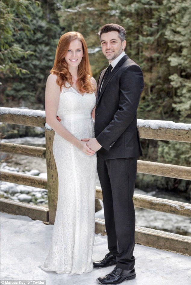 Sweet:The stunner shared a portrait of the two of them holding hands while on a snow-covered bridge