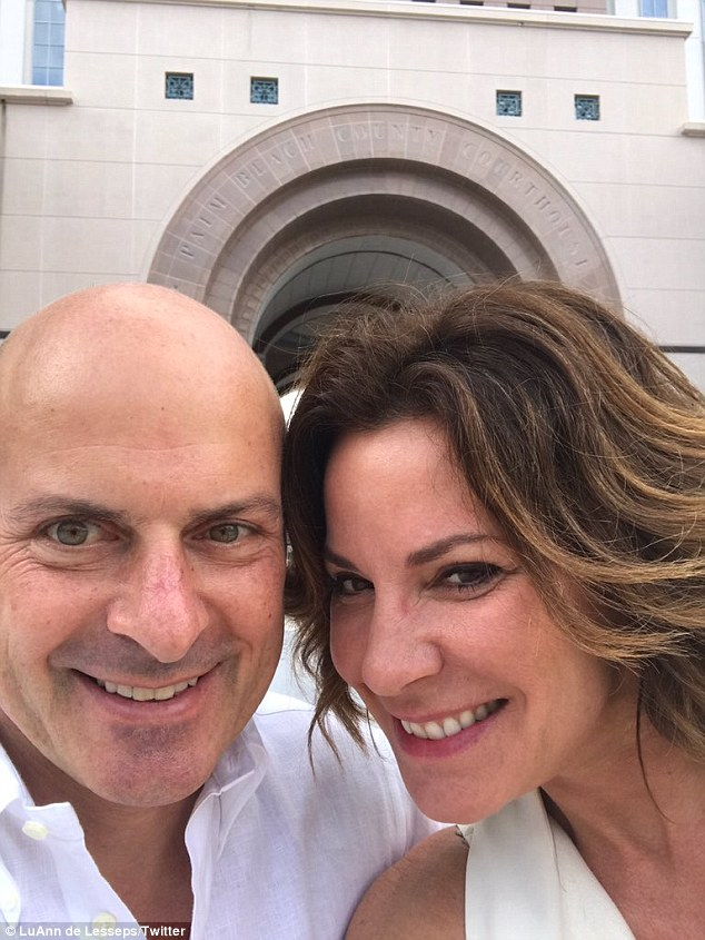 'At the courthouse': On Monday, Luann De Lesseps and Tom D'Agostino procured their marriage license in Palm Beach, Florida, the 51-year-old sharing the experience with her Twitter and Instagram following