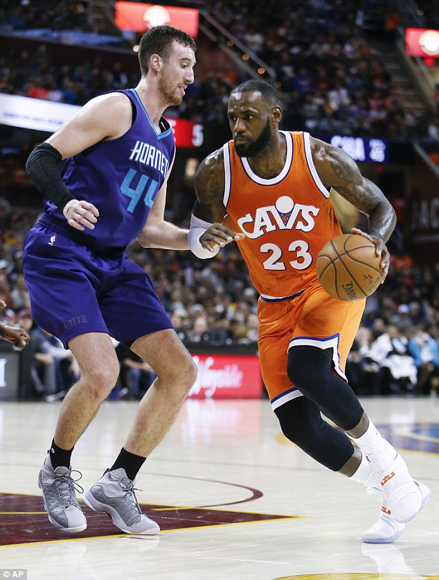 Keeping it up: LeBron and theCleveland Cavaliers triumphed over theCharlotte Hornets at Saturday's game