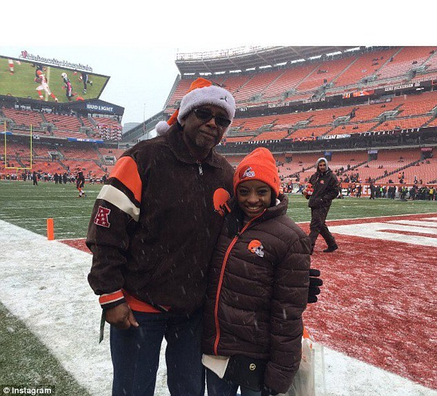 Making the most: The pair were also given a tour around the home stadium of the Browns