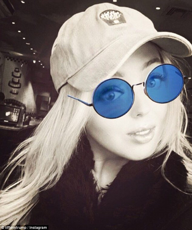 Casual day out: Tiffany shared snapped this black and white selfie with a filter a few weeks ago