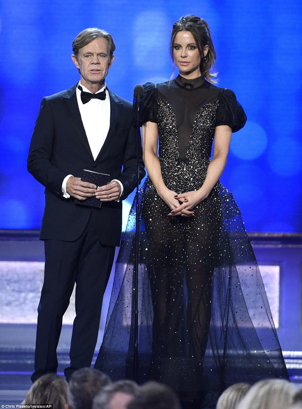 Stunning: The award was presented by William H. Macy and Kate Beckinsale