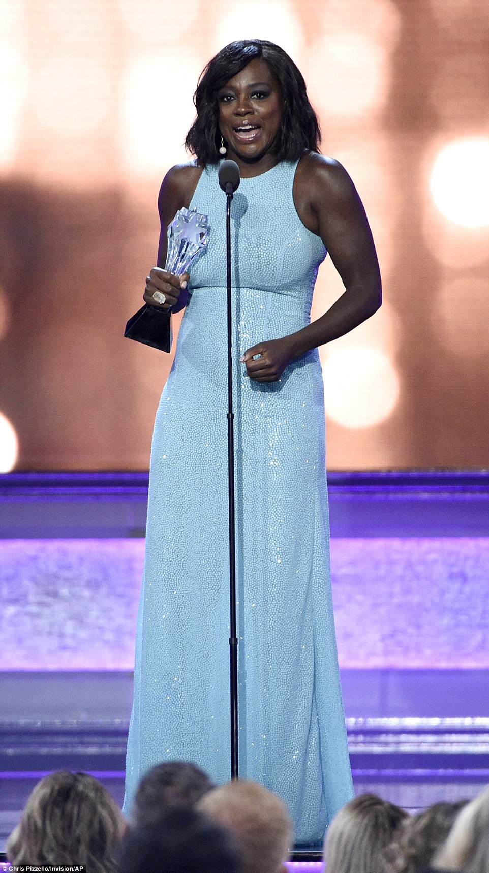 Sense of humor:She also began the acceptance speech by joking: 'Thank you. It's hard to accept being a role model for women when you're trying to lose weight.'