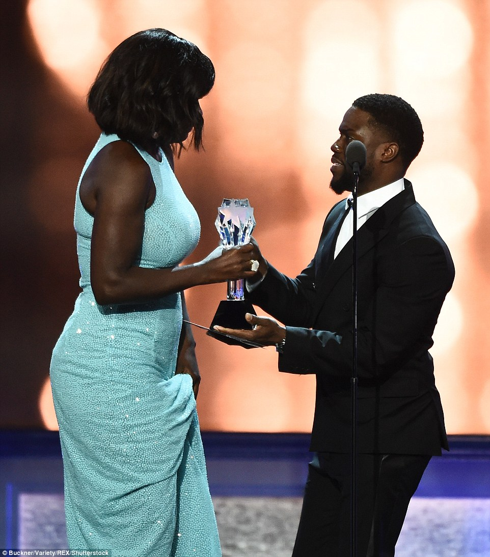 Another win: Later in the night Viola was given the Best Supporting Actress gong by Kevin Hart