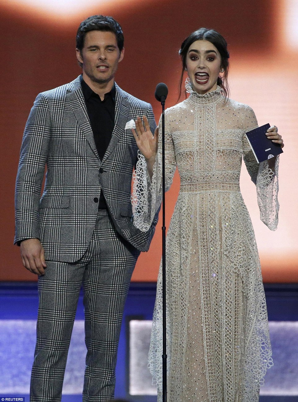 Dynamic duo:James Marsden and Lily Collins hit the stage together