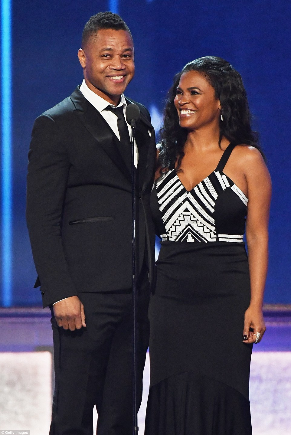Reunited: Cuba Gooding Jr and Nia Long hit the stage to present as they previously starred together in Boyz N TheHood