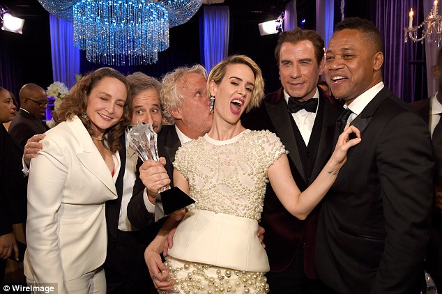 Triumph: Actress Sarah Paulson, Marcia Clark in the hit drama, also won on the night on thew category for Best Actress in a Movie Made for Television or Limited Series