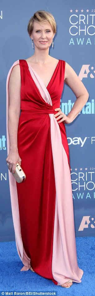 What would Carrie say? While she is a star of one of television's most stylish shows of all time, Sex And The City's Cynthia Nixon made style misstep in a red and pink satin gown which would have been suited more to the 1996 Critics' Choice Awards than the 2016