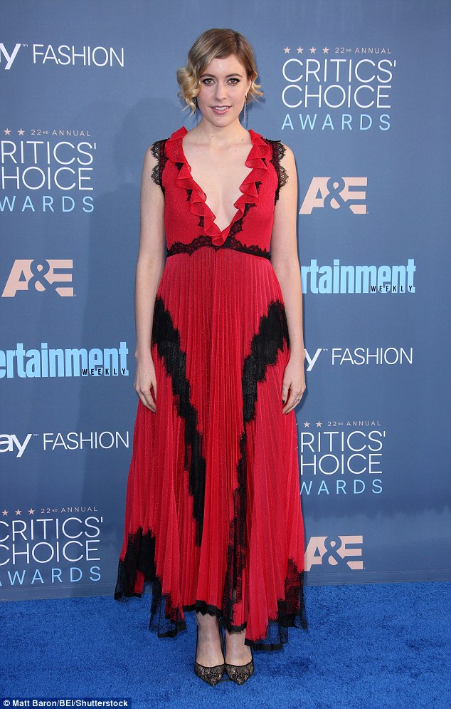 So close: Greta Gerwig dress was not so red hot thanks to its ill-fit and unneeded sparkle