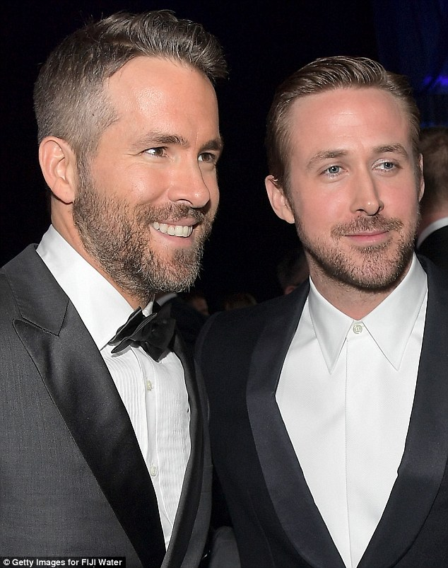 A victory for style: Gosling's tieless look was no match for his conqueror Ryan's classic fashion mode