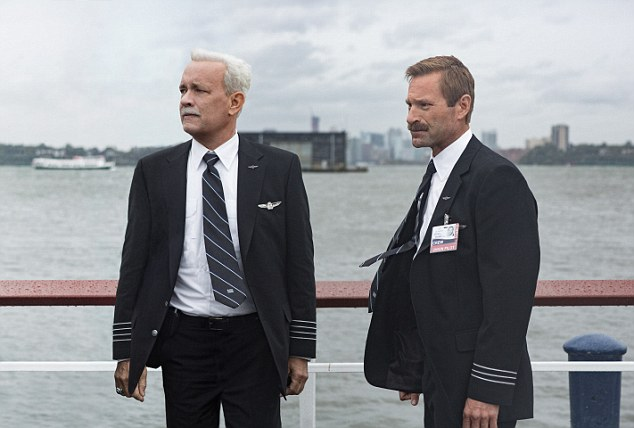 Nominee: Sully is portrayed by Hanks in the movie which bears his nickname (pictured with Aaron Eckhart)