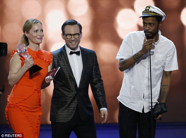Not for you: While Leslie Mann - who presented the category with Christian Slater - do not hand over the trophy, Lakeith gave an acceptance speech
