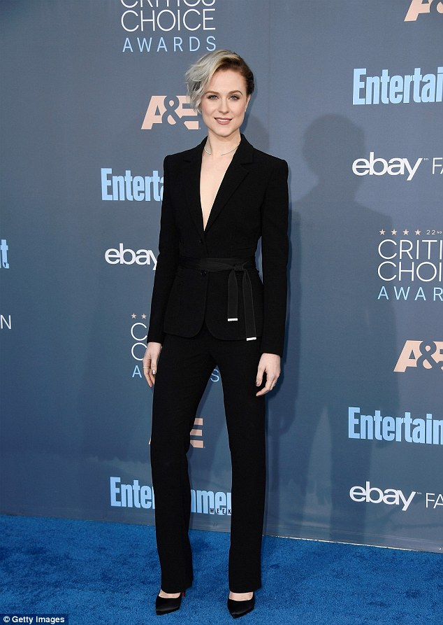 Simply chic: Evan Rachel Wood looked fantastic as she walked the red carpet at the Critics' Choice Awards in Los Angeles on Sunday