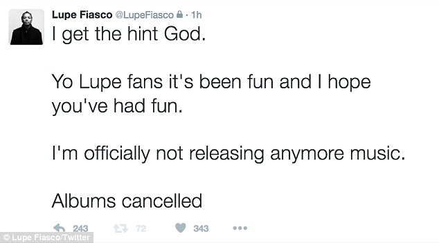 He's done: He later said his three albums are cancelled